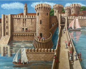quadro olio su tavola ulisse napoli monumenti di un tempo 40x50