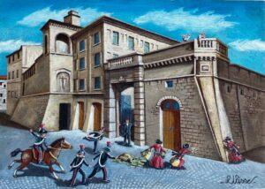 quadro arte pittore ulisse osimo tentata rapina alla vecchia banca