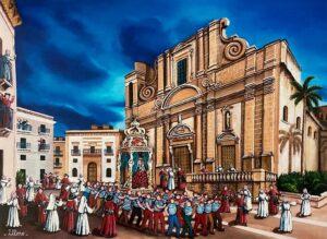 arte quadro pittore ulisse la madonna del soccorso sciacca