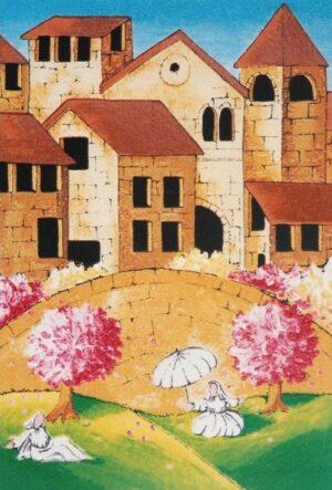 quadro arte pittore ulisse serigrafia alberi in fiore