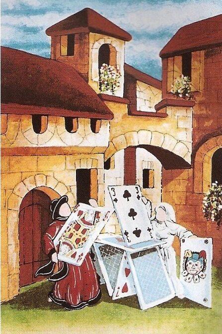 quadro arte pittore ulisse serigrafia castello di carte