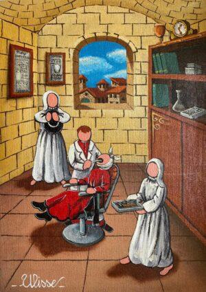 quadro arte pittore ulisse le professioni dal dentista