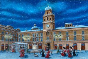 quadro arte pittore ulisse parma giochi sotto la neve