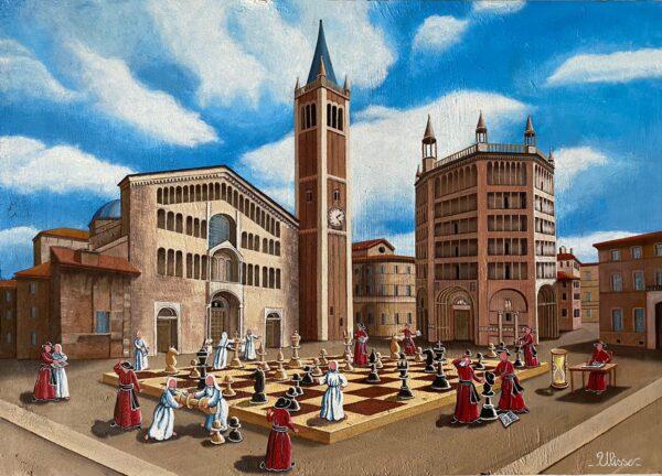 quadro arte pittore ulisse parma partita a scacchi in piazza duomo